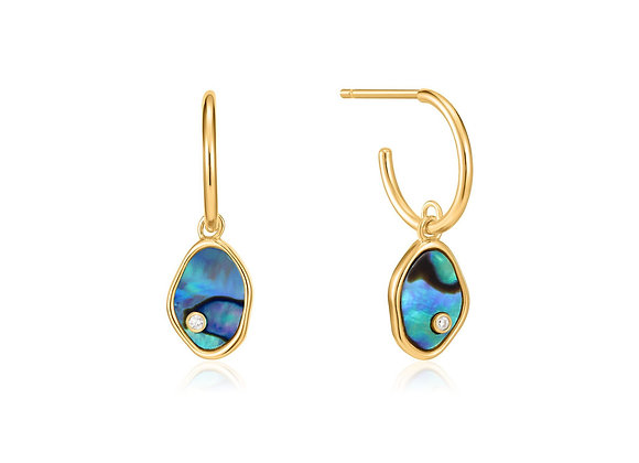 Gold Tidal Abalone Mini Hoop Earrings