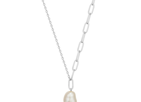 Silver Pearl Chunky Necklace