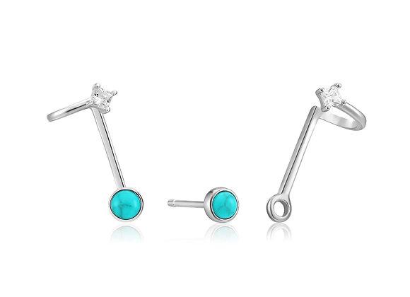 Silver Tidal Turquoise Double Stud Earrings