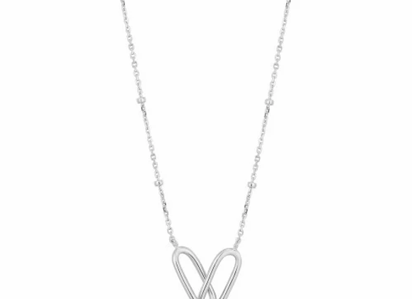 SILVER BEADED CHAIN LINK NECKLACE