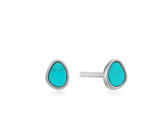 Silver Tidal Turquoise Stud Earrings