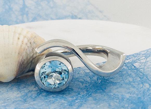 Silberring Blautopas