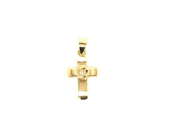 Kreuzanhänger Gold - Zirkonia