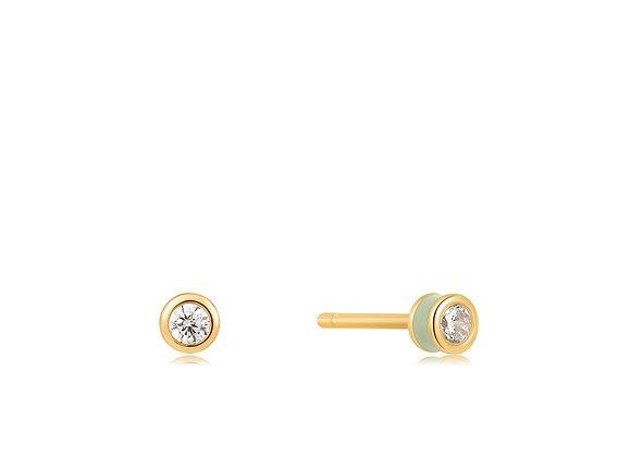 Sage Enamel Gold Stud Earrings