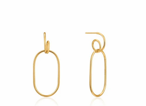 Gold Spiral Oval Hoop Earrings