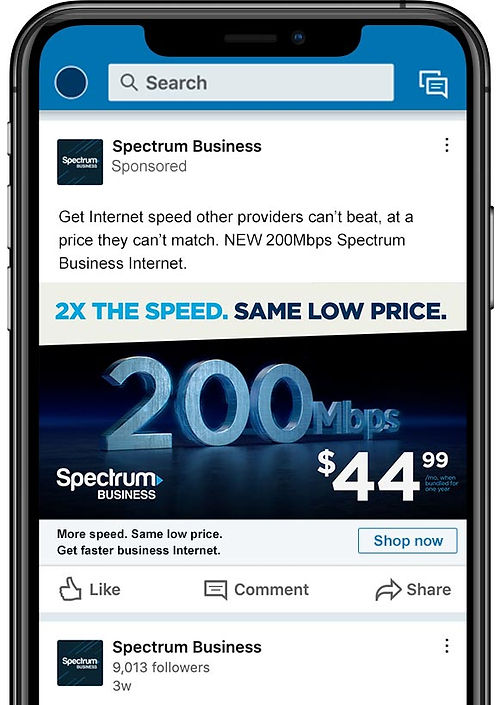 Spectrum Business 200Mbps LinkedIn video ad