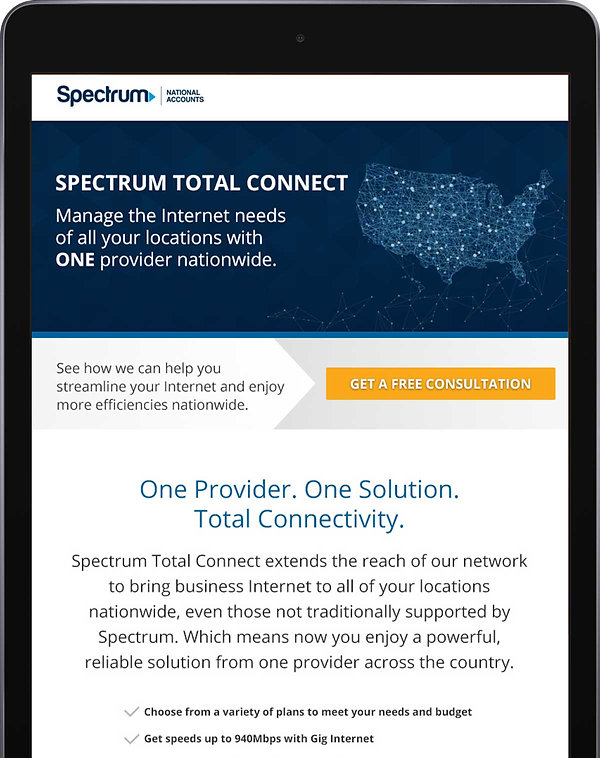 Spectrum Total Connect landing page