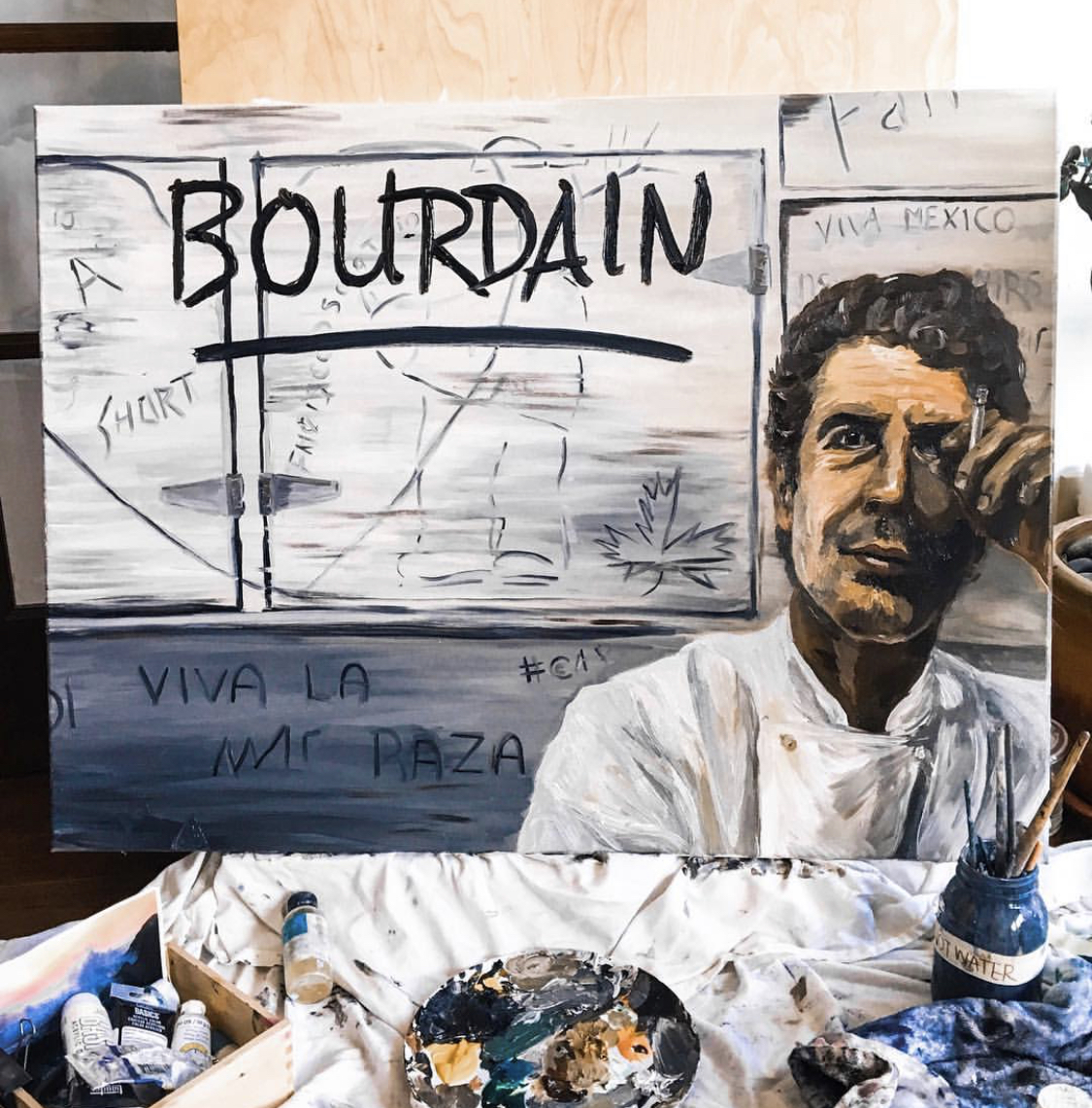 "Anthony Bourdain - Oil on Canvas (36"" x 48"")"