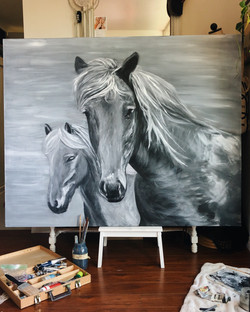 Blonde Horses - Oil on Canvas