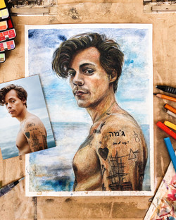 Harry Styles – Watercolor, Charcoal, Colored Pencil