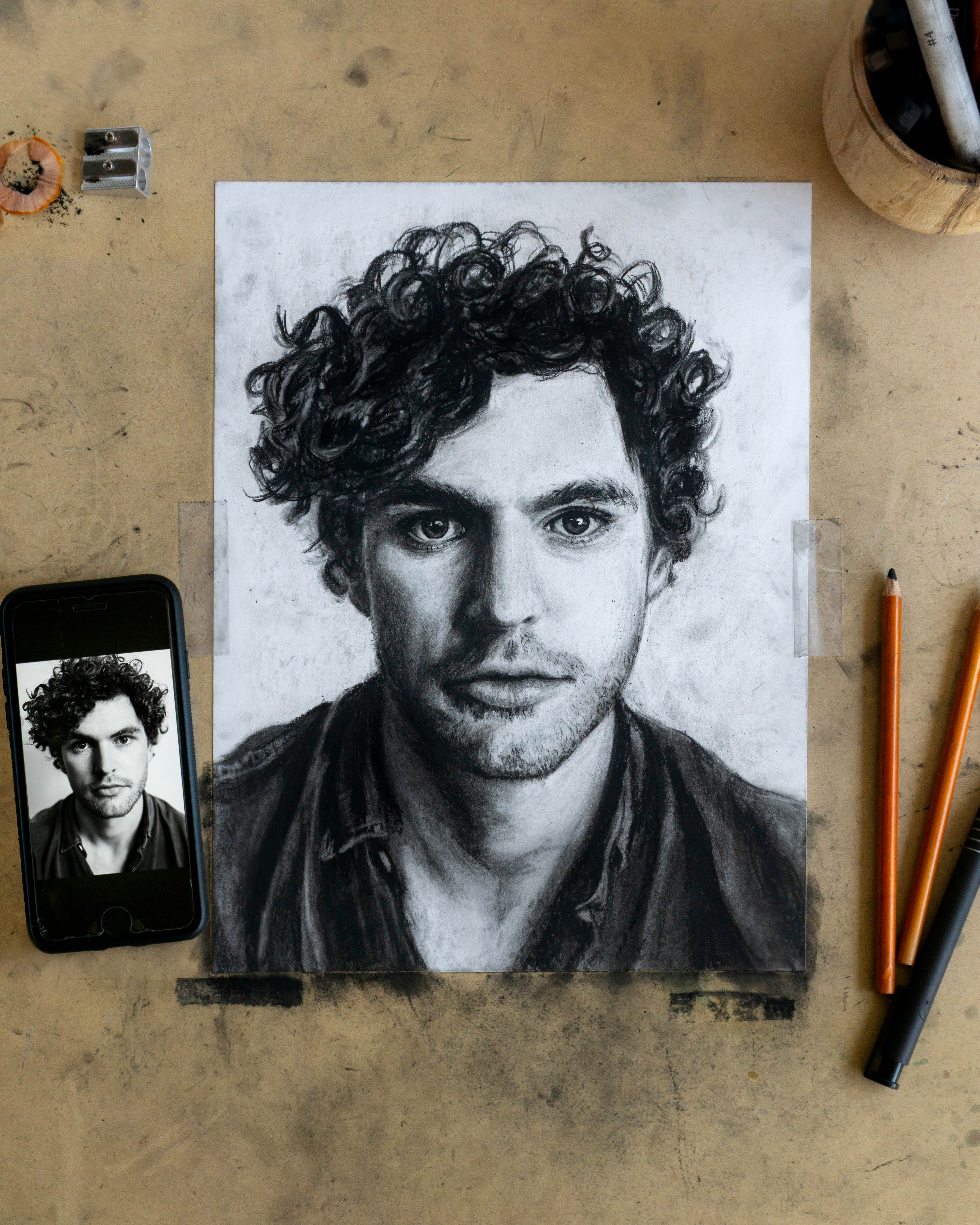 Vance Joy Drawing - Charcoal