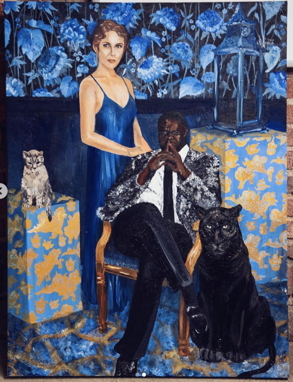 "Sam Richardson and Family - Oil on Canvas (48"" x 60"")"