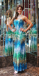 Blue Green Gold Gown