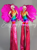 Rainbow carnival Stilt Walkers