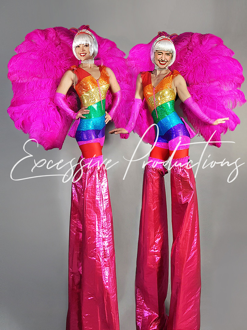 Rainbow carnival Stilt Walkers
