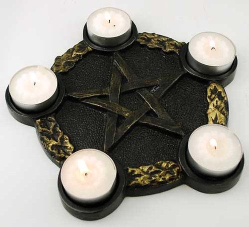 Pentagram Candle Holder Altar Tile