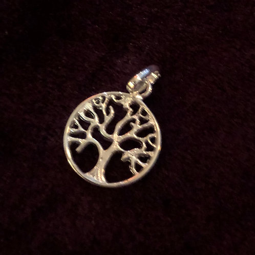Round Sterling Silver Tree of Life Charm