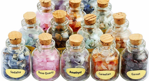 Set of 3 Crystal Gemstone Chip Bottles