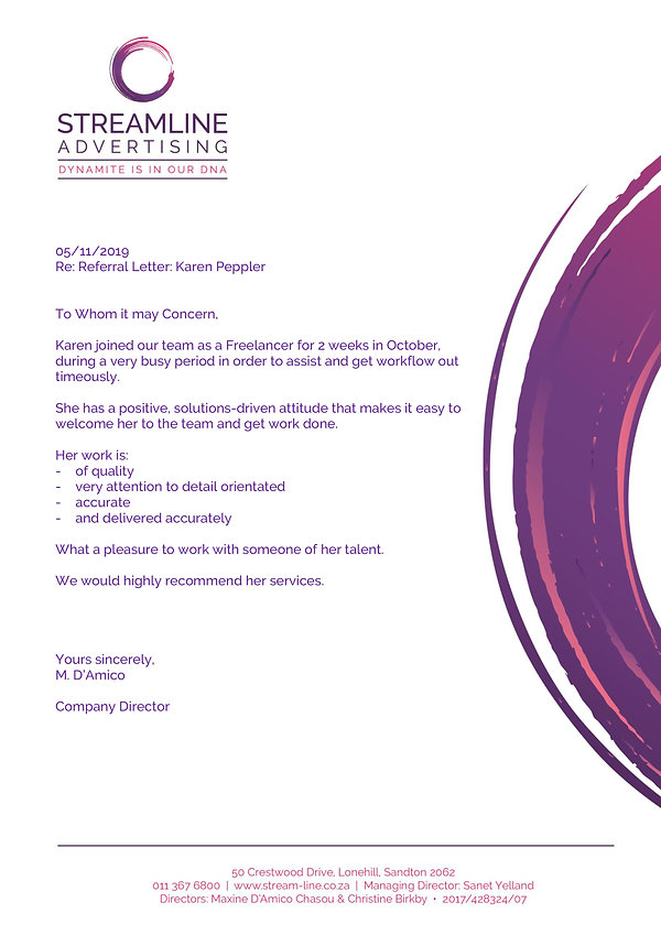 Reference letter from Streamline Advertisn