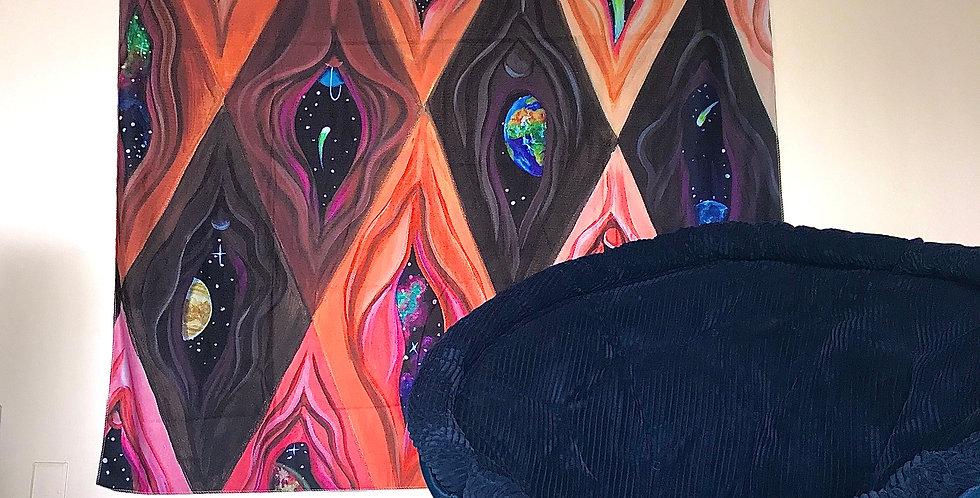 """Argyle Yoni"" Tapestry"