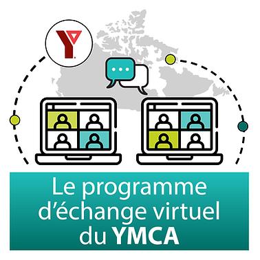 Une carte grise du Canada. Il y a deux écrans d'ordinateur en bas de l'image, et sur chacun d'eux on voit quatre personnes. Une bulle de texte émane de chaque ordinateur. Le logo YMCA est en rouge en haut. En bas on peut lire « Programme d'échange virtuel du YMCA »