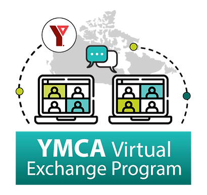 """A grey map of Canada. There are two computer screens at the bottom, each with the icon of 4 heads. There is a speech bubble coming from each computer. The YMCA logo is at the top in red. At the bottom it reads """"YMCA Virtual Exchange Program"""""""