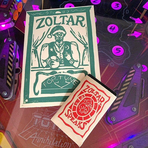 Hand-Stamped Zoltar Holiday Card