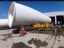 Munck Cranes Custom Designed Wind Turbine Roller Transfer Cart With Hydraulic Lift Capability.