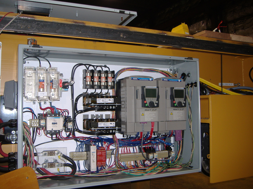 Transfer cart electrics during construction phase. Powered by 24V Lead Acid battery.