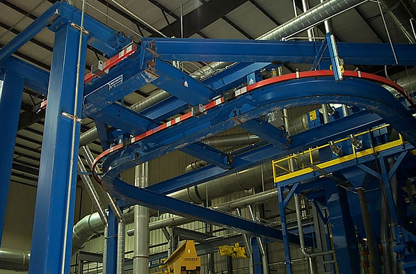 Munck Cranes curved monorail system, custom monorail system, free standing.