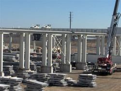 Munck Cranes outdoor free standing overhead crane runway.