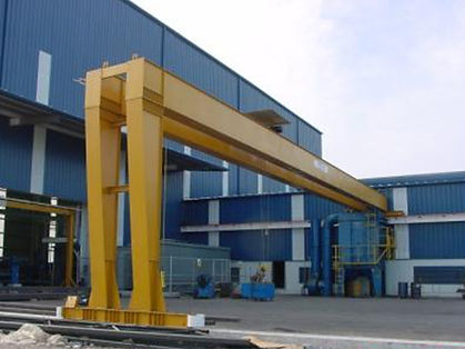 Munck Cranes Semi Gantry Overhead Crane, Double Girder, Top Running Semi Gantry Crane.