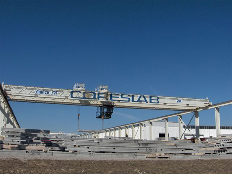 Munck Cranes Custom Long Span Top Running Double Girder Outdoor, Motorized Cab Operated. Dual Trolle