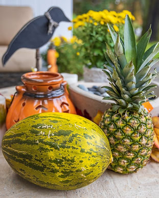 pineapple and watermelon with some decorative images in the background