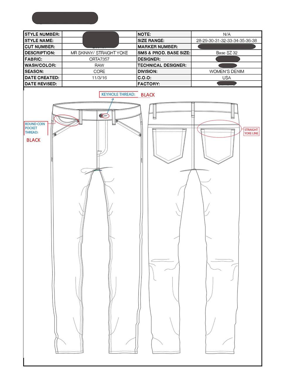 Men's jeans tech pack with rim placement details