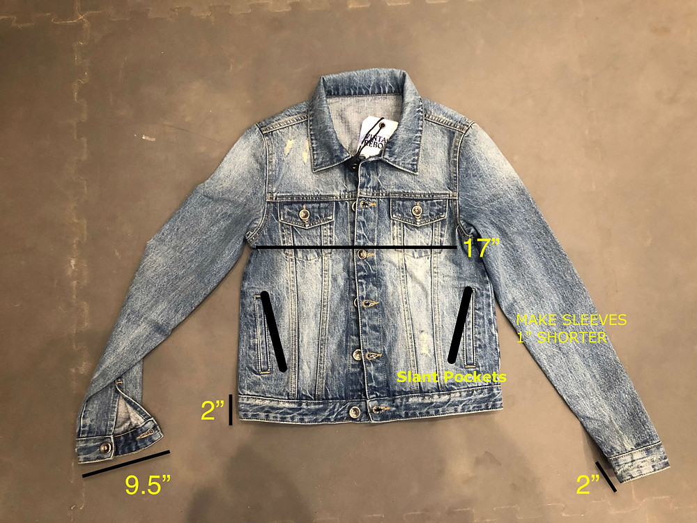 Jacket photo used in place of tech pack sketches