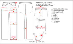 measurement points for jeans from to