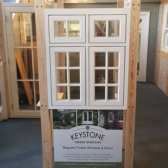 Keystone timber window showroom in chesterfield. Made to measure windows and doors factory finished