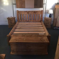 Handmade bed, bedside cabinets