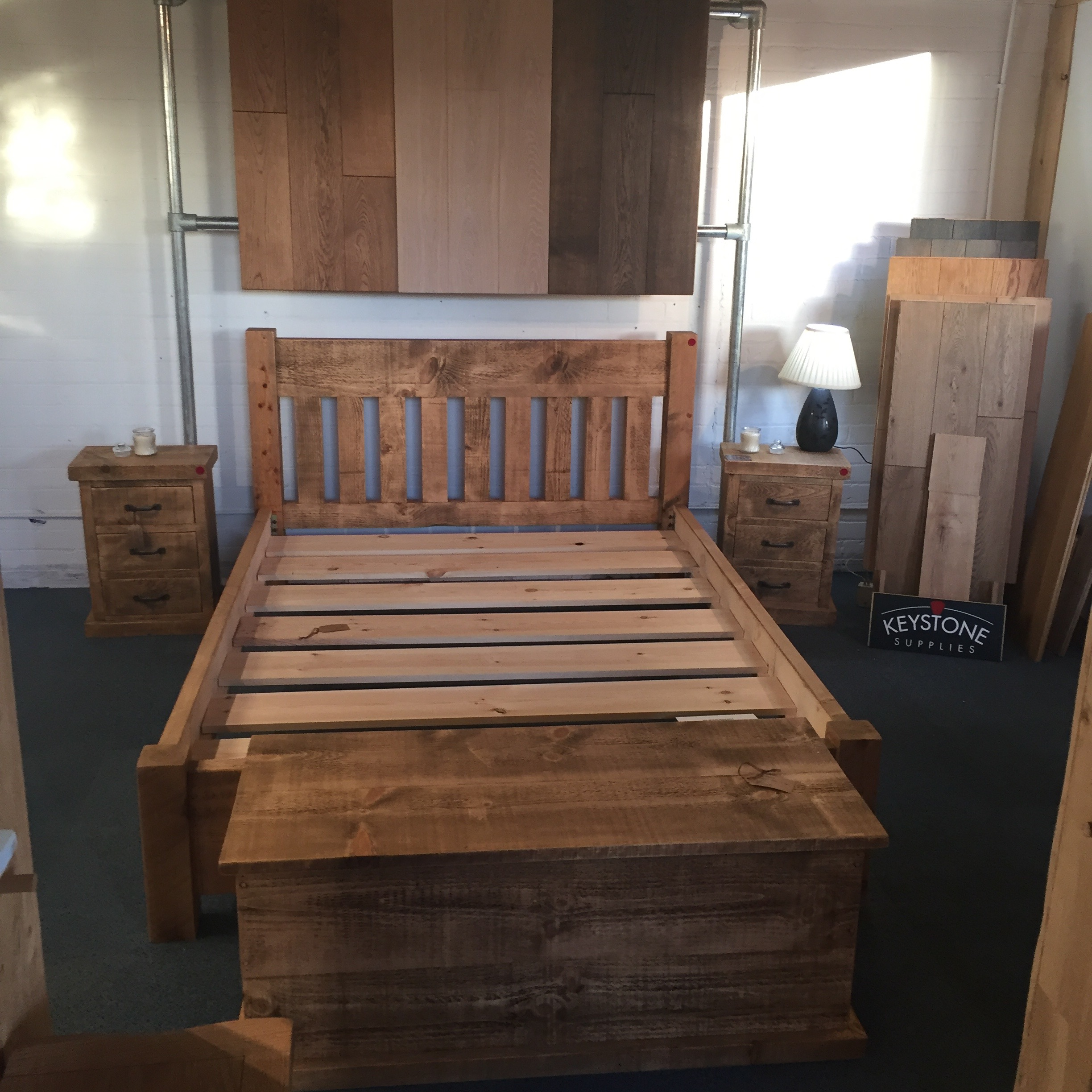 Handmade bed, low footboard
