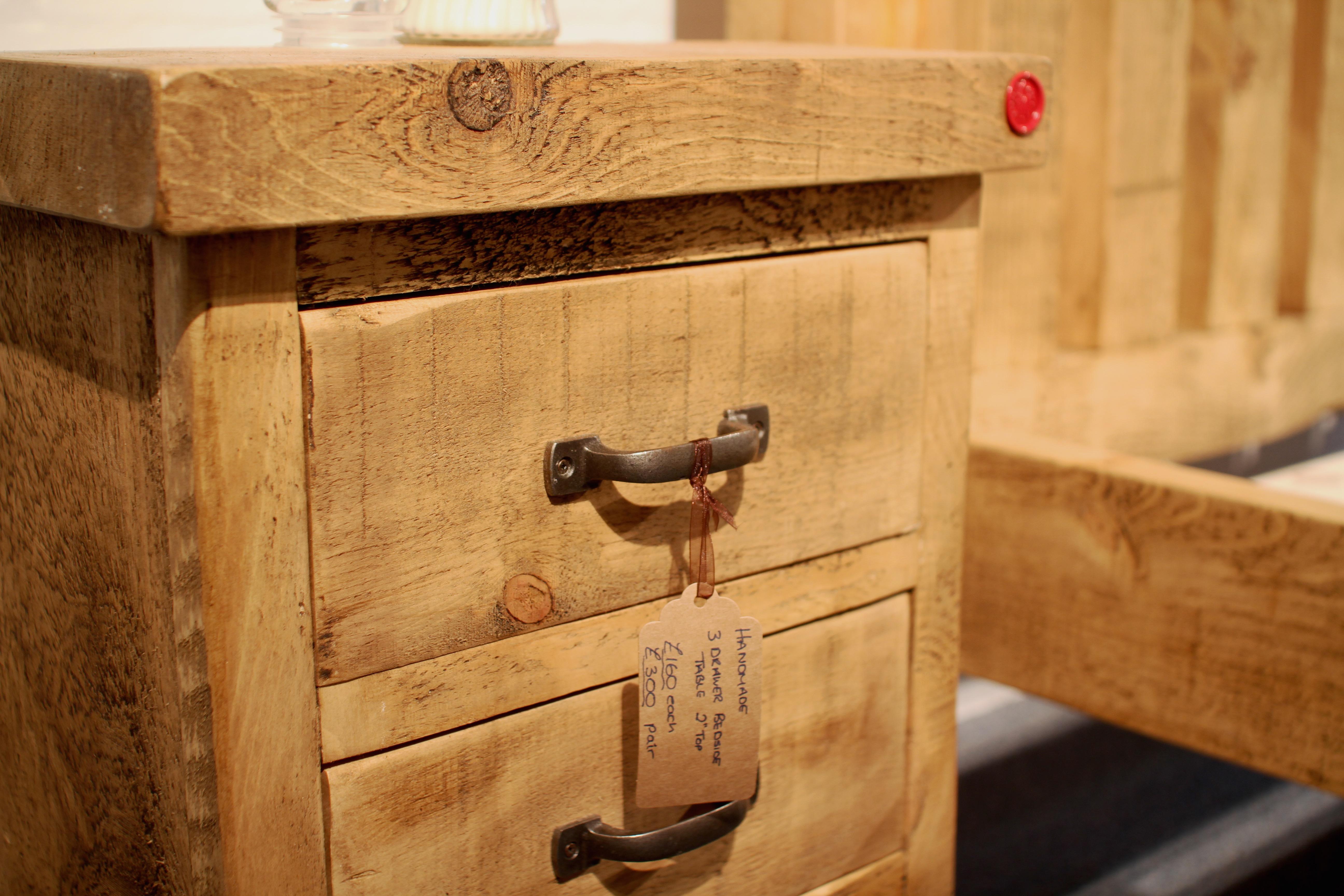 Handmade 3 drawer bedside cabinet