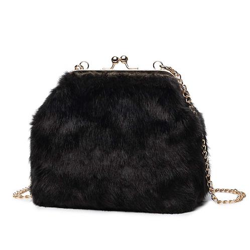 Black Fur Bag With Gold Hardwear