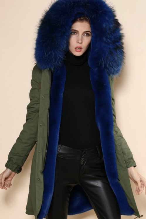 Green Parka with Blue Fur Lining