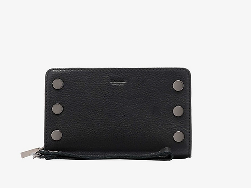 Leather Wallet with Gold Hardwear and Wrist Strap