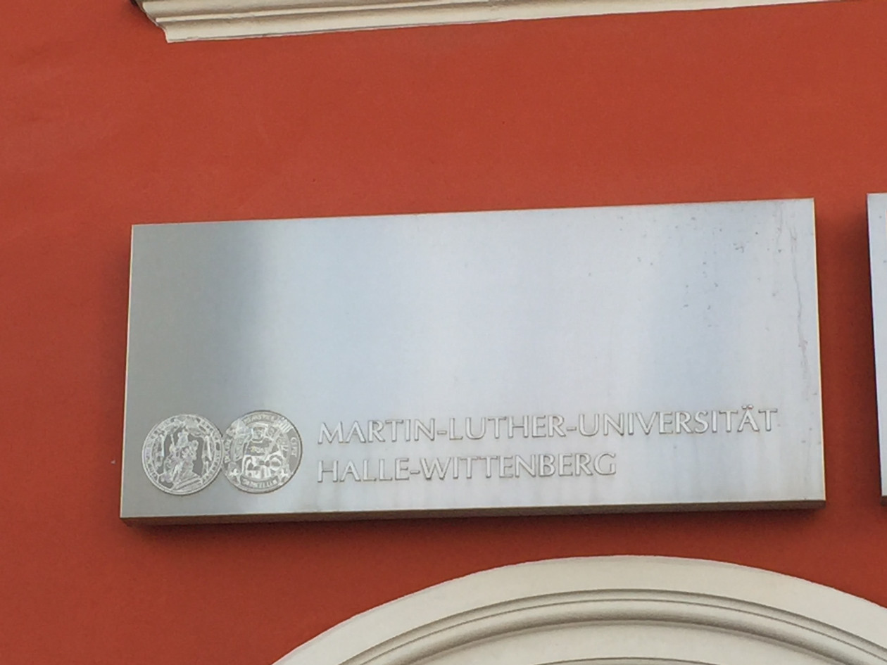 Plaque for Martin Luther University in Halle