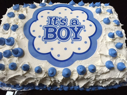 Baby Boy Shower Cake (Topper Included)