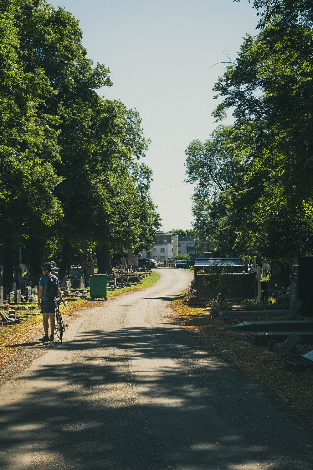 Historical cycle past Kensal Green Cemetery in West Londonon