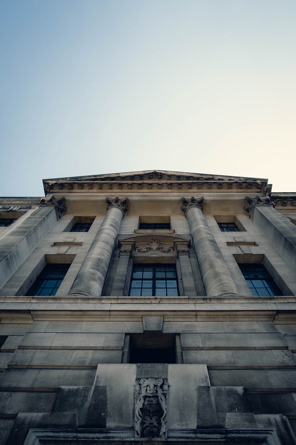 A photograph looking up at the Camden Town Hall