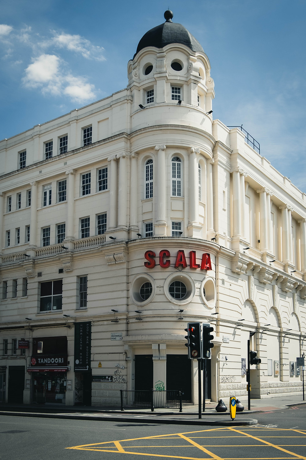 Photograph of The Scala music venue from the outside