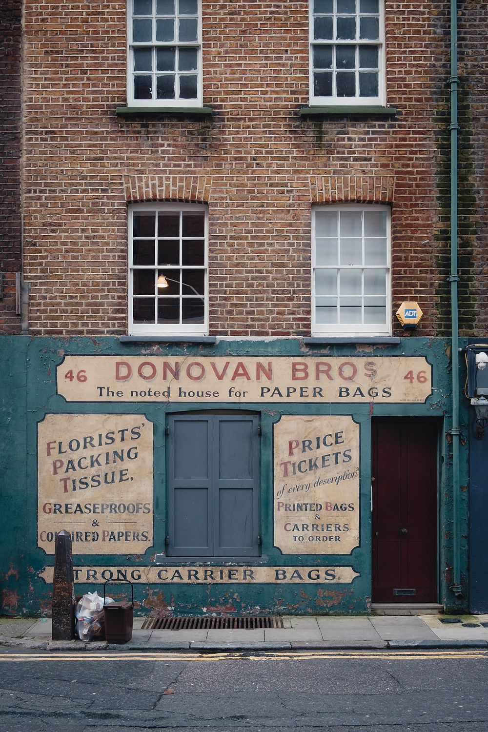 Ghost sign advertising paper bags in Spitalfields